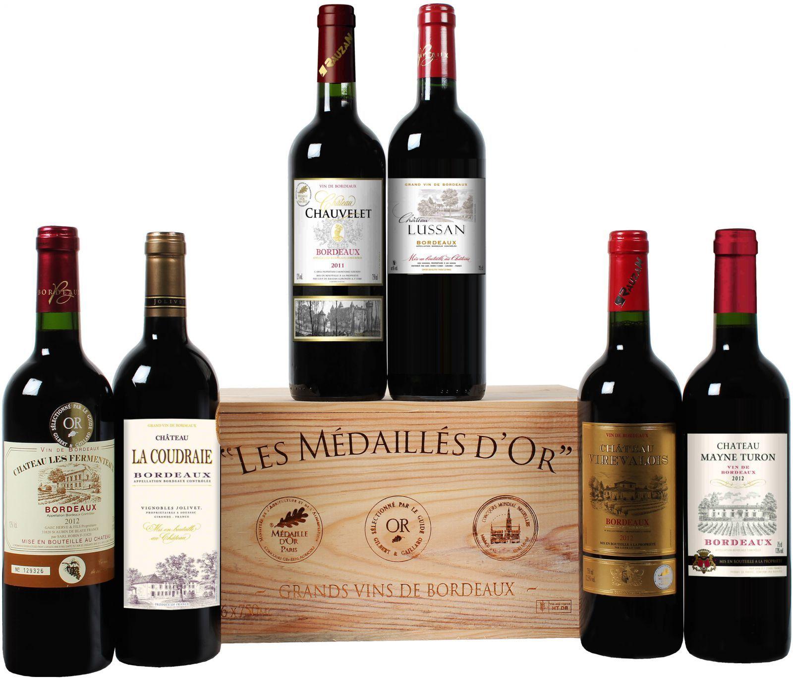 Goldprämierte Bordeaux-Selektion in edler Holzkiste mit 6 Flaschen Rotwein nur 39,99 Euro* statt 99,00 Euro
