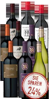 2x5 Flaschen Weiß- und Rotweine aus Übersee