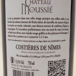 Château Moussie 2010 Rückseite Etikett