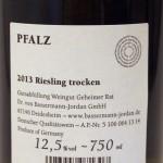 Bassermann-Jordan Riesling 2013 Etikett hinten