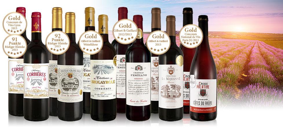 12 prämierte Weine aus Frankreich im Probierpaket