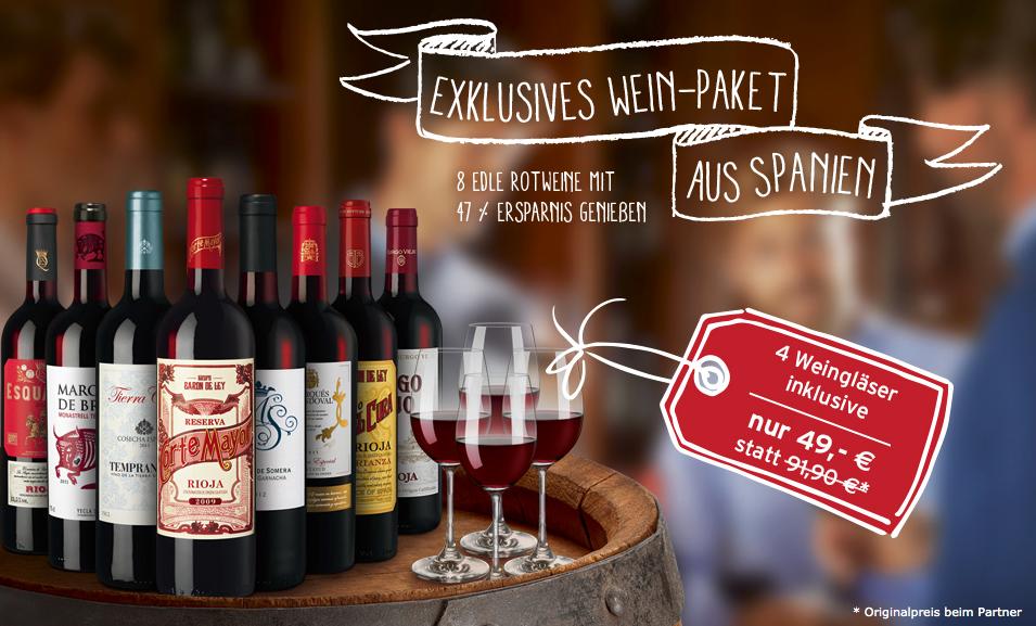 Weinpaket mit 8 edlen Rotweinen aus Spanien