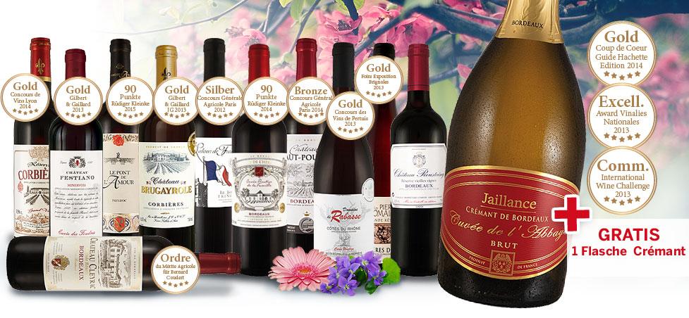 11 verschiedene edle französische Rotweine + Bordeaux Crémant