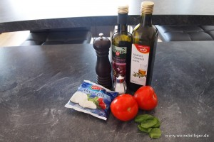 Zutaten für Tomate-Mozzarella-Salat