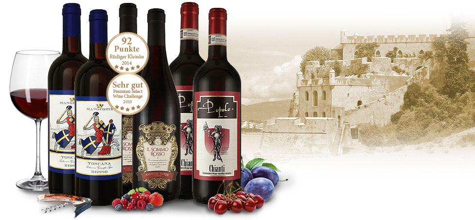Weinpaket mit 6 köstlichen Rotweinen von kleinen Castellos Italiens