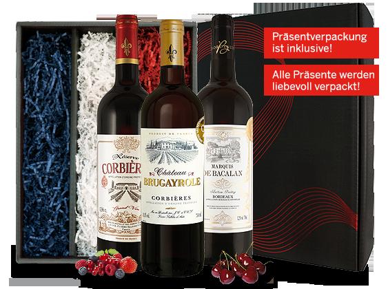 Französisches Weingeschenk Gold-Trio